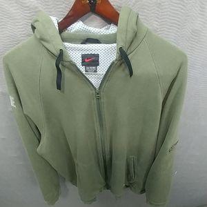 Nike mens full zip hoodie sweater sz XXL olive gre